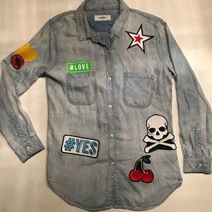 Soul Cycle Thin Denim Buttondown Shirt-SUPER SOFT!